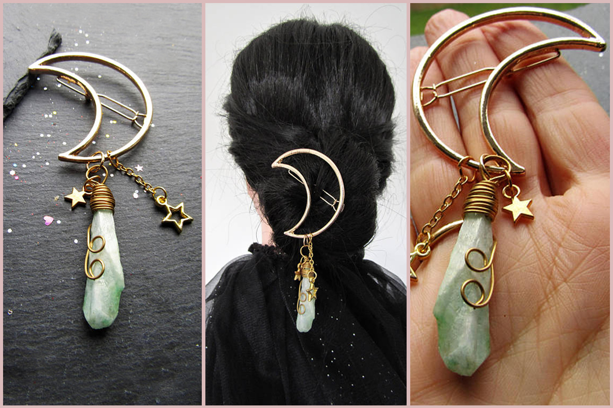 Moon-and-Light-Green-Gemstone-Hairclip